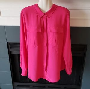 Tops - Hot Pink Long Sleeves Light Button Down Top L